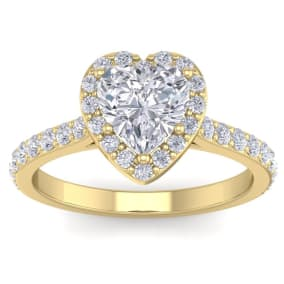 1 3/4 Carat Heart Shape Halo Diamond Engagement Ring In 14 Karat Yellow Gold