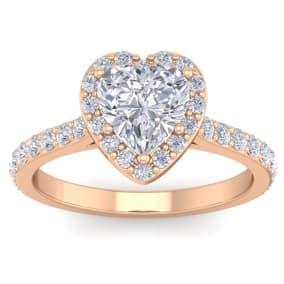 1 3/4 Carat Heart Shape Halo Diamond Engagement Ring In 14 Karat Rose Gold