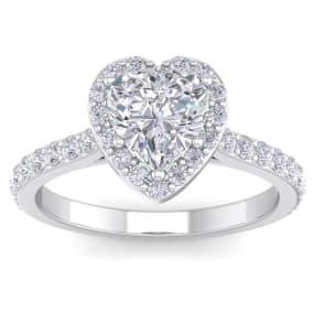 1 3/4 Carat Heart Shape Halo Diamond Engagement Ring In 14 Karat White Gold