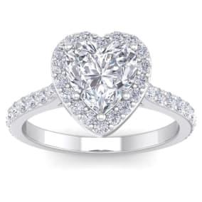 2 1/2 Carat Heart Shape Halo Diamond Engagement Ring In 14 Karat White Gold