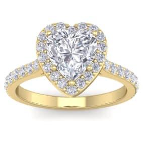2 1/2 Carat Heart Shape Halo Diamond Engagement Ring In 14 Karat Yellow Gold