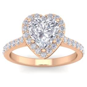 2 1/2 Carat Heart Shape Halo Diamond Engagement Ring In 14 Karat Rose Gold