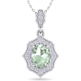1 1/3 Carat Oval Shape Green Amethyst and Diamond Necklace In 14 Karat White Gold, 18 Inches