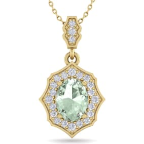 1 1/3 Carat Oval Shape Green Amethyst and Diamond Necklace In 14 Karat Yellow Gold, 18 Inches