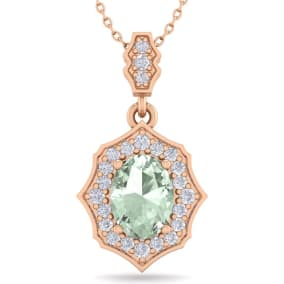 1 1/3 Carat Oval Shape Green Amethyst and Diamond Necklace In 14 Karat Rose Gold, 18 Inches