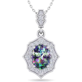 1 1/3 Carat Oval Shape Mystic Topaz and Diamond Necklace In 14 Karat White Gold, 18 Inches