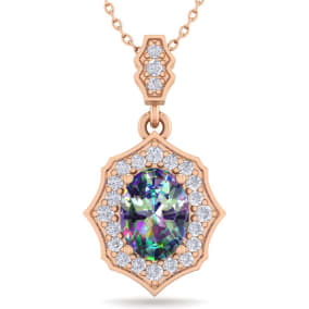 1 1/3 Carat Oval Shape Mystic Topaz and Diamond Necklace In 14 Karat Rose Gold, 18 Inches