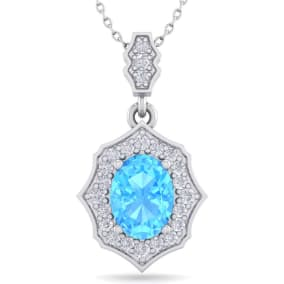 1 3/4 Carat Oval Shape Blue Topaz and Diamond Necklace In 14 Karat White Gold, 18 Inches