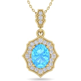 1 3/4 Carat Oval Shape Blue Topaz and Diamond Necklace In 14 Karat Yellow Gold, 18 Inches