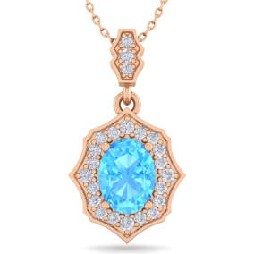 1 3/4 Carat Oval Shape Blue Topaz and Diamond Necklace In 14 Karat Rose Gold, 18 Inches