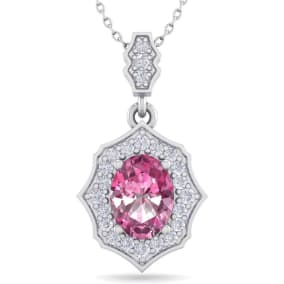 1 3/4 Carat Oval Shape Pink Topaz and Diamond Necklace In 14 Karat White Gold, 18 Inches