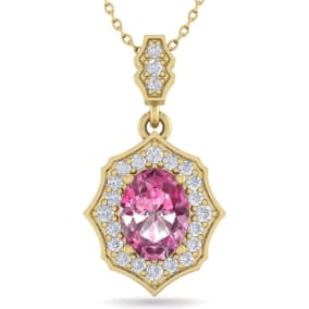 1 3/4 Carat Oval Shape Pink Topaz and Diamond Necklace In 14 Karat Yellow Gold, 18 Inches
