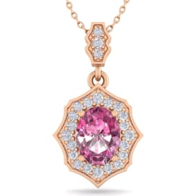 1 3/4 Carat Oval Shape Pink Topaz and Diamond Necklace In 14 Karat Rose Gold, 18 Inches