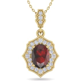 1 3/4 Carat Oval Shape Garnet and Diamond Necklace In 14 Karat Yellow Gold, 18 Inches