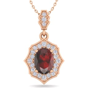 1 3/4 Carat Oval Shape Garnet and Diamond Necklace In 14 Karat Rose Gold, 18 Inches