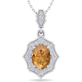 1 1/3 Carat Oval Shape Citrine and Diamond Necklace In 14 Karat White Gold, 18 Inches