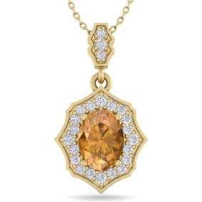 1 1/3 Carat Oval Shape Citrine and Diamond Necklace In 14 Karat Yellow Gold, 18 Inches
