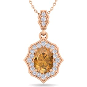 1 1/3 Carat Oval Shape Citrine and Diamond Necklace In 14 Karat Rose Gold, 18 Inches