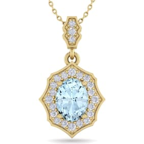 1 1/2 Carat Oval Shape Aquamarine and Diamond Necklace In 14 Karat Yellow Gold, 18 Inches