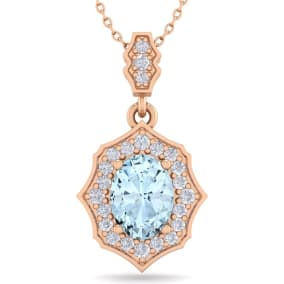 1 1/2 Carat Oval Shape Aquamarine and Diamond Necklace In 14 Karat Rose Gold, 18 Inches
