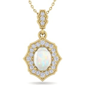 1 1/4 Carat Oval Shape Opal and Diamond Necklace In 14 Karat Yellow Gold, 18 Inches