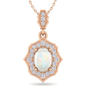 1 1/4 Carat Oval Shape Opal and Diamond Necklace In 14 Karat Rose Gold, 18 Inches
