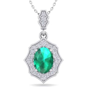 1 1/2 Carat Oval Shape Emerald and Diamond Necklace In 14 Karat White Gold, 18 Inches