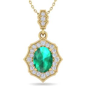 1 1/2 Carat Oval Shape Emerald and Diamond Necklace In 14 Karat Yellow Gold, 18 Inches