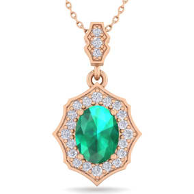 1 1/2 Carat Oval Shape Emerald and Diamond Necklace In 14 Karat Rose Gold, 18 Inches