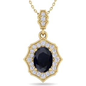 1 3/4 Carat Oval Shape Sapphire and Diamond Necklace In 14 Karat Yellow Gold, 18 Inches