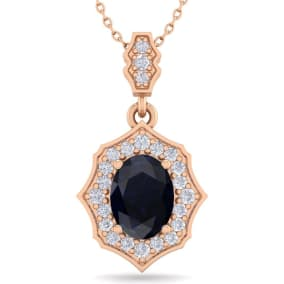 1 3/4 Carat Oval Shape Sapphire and Diamond Necklace In 14 Karat Rose Gold, 18 Inches