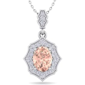 1 1/2 Carat Oval Shape Morganite and Diamond Necklace In 14 Karat White Gold, 18 Inches