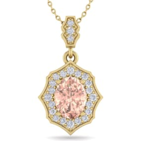 1 1/2 Carat Oval Shape Morganite and Diamond Necklace In 14 Karat Yellow Gold, 18 Inches