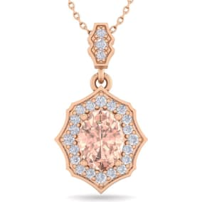 1 1/2 Carat Oval Shape Morganite and Diamond Necklace In 14 Karat Rose Gold, 18 Inches