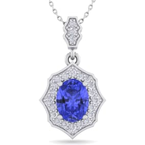 1 1/2 Carat Oval Shape Tanzanite and Diamond Necklace In 14 Karat White Gold, 18 Inches