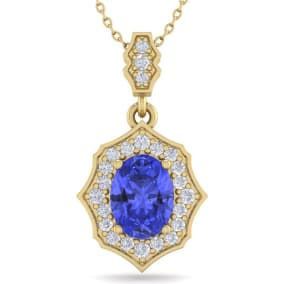 1 1/2 Carat Oval Shape Tanzanite and Diamond Necklace In 14 Karat Yellow Gold, 18 Inches