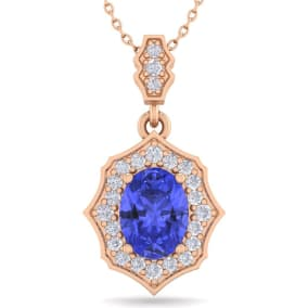 1 1/2 Carat Oval Shape Tanzanite and Diamond Necklace In 14 Karat Rose Gold, 18 Inches