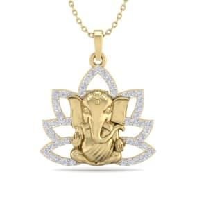 1/2 Carat Diamond Ganesha Necklace In 14 Karat Yellow Gold, 18 Inches
