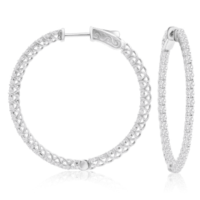 2 Carat Crystal Hoop Earrings In Sterling Silver, 1 1/2 Inches.