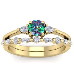 3/4 Carat Mystic Topaz and Diamond Antique Style Bridal Set In 14 Karat Yellow Gold