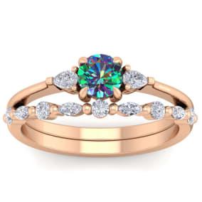 3/4 Carat Mystic Topaz and Diamond Antique Style Bridal Set In 14 Karat Rose Gold