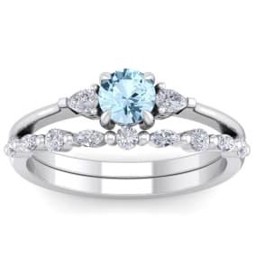 7/8 Carat Aquamarine and Diamond Antique Style Bridal Set In 14 Karat White Gold