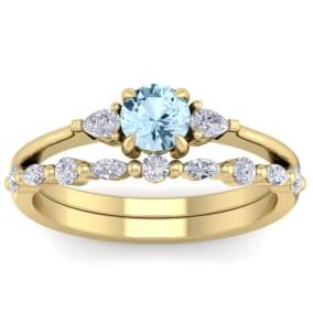 7/8 Carat Aquamarine and Diamond Antique Style Bridal Set In 14 Karat Yellow Gold