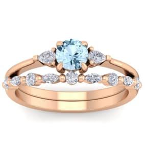 7/8 Carat Aquamarine and Diamond Antique Style Bridal Set In 14 Karat Rose Gold
