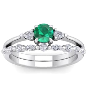 7/8 Carat Emerald and Diamond Antique Style Bridal Set In 14 Karat White Gold