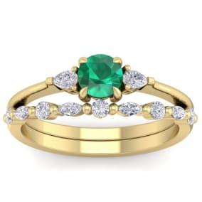 7/8 Carat Emerald and Diamond Antique Style Bridal Set In 14 Karat Yellow Gold