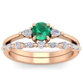 7/8 Carat Emerald and Diamond Antique Style Bridal Set In 14 Karat Rose Gold