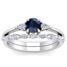 1 Carat Sapphire and Diamond Antique Style Bridal Set In 14 Karat White Gold