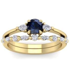 1 Carat Sapphire and Diamond Antique Style Bridal Set In 14 Karat Yellow Gold