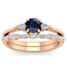 1 Carat Sapphire and Diamond Antique Style Bridal Set In 14 Karat Rose Gold